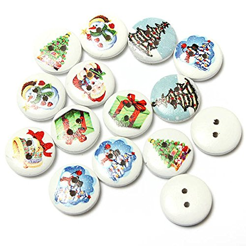 Arts, Crafts & Sewing - 80pcs Xmas Wooden Santa Cla Snowman Pattern Buttons Christams Decor