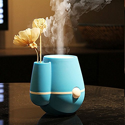 BestFire® Flower Vase Shape 220ml Air Mist Ultrasonic USB Humidifier Air Purifier Freshener Aroma Steam Diffuser for Bedrooms Living Rooms Car Home and Office (Blue)