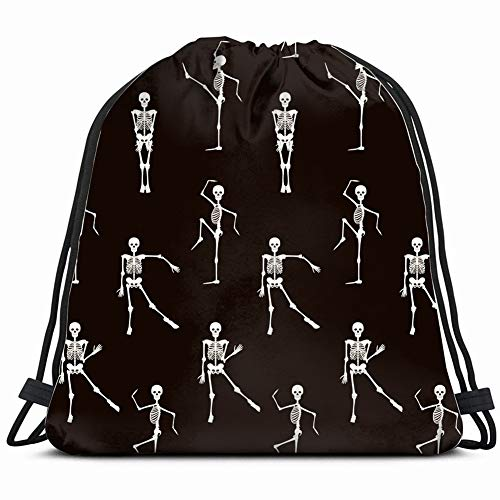 Seamless Pattern Dancing Skeletons Backgrounds Textures Halloween People Drawstring Backpack Rucksack Shoulder Bags Gym Bag -