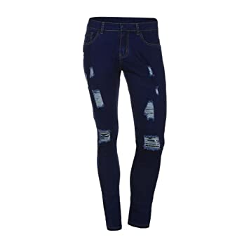 Pantalones Vaqueros Hombres Rotos Pitillo Originales Slim ...