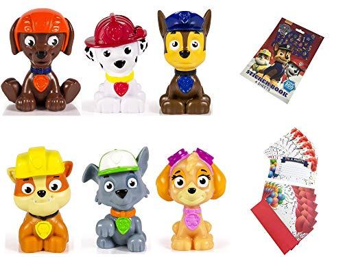 Paw Patrol Mini Figures Set of 6, Rocky, Zuma, Skye, Rubble, Marshall, Chase Paw Patrol Reward Sticker Book with 300 Stickers 6 Party Invitations Cards ()