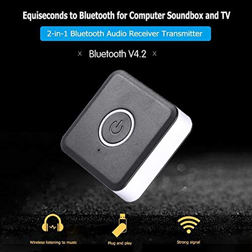 owhelmlqff-Practical Type2 in 1 Bluetooth 4.2 Transmitter Receiver 3.5mm Wireless Stereo Audio Adapter - White Black