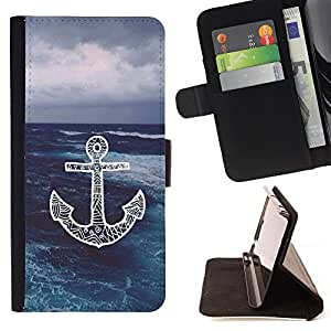 - Chevron Anchor Boat - - Flip Wallet Leather Magnetic Closure Cover Skin Case FOR Apple Iphone 4 / 4S Justin City