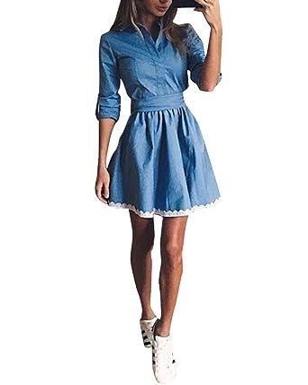 Denim Kleid Damen Minikleid Jeanskleid Lässig Kurz A Line