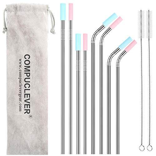 Stainless Steel Straws Set of 8 BPA Free Reusable Drinking Straws for 30oz 20oz Tumbler 10.5 8.5 Diameter 0.24 0.31 with 8 Silicone Tips 2 Cleaning Brushes and Pouch(4 bent 4 straight)