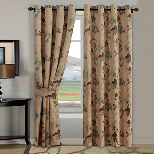 H.Versailtex Ultra Sleep Well Blackout Curtains for Living Room,Thick and Soft Grommet Curtain, Traditional Vintage Floral in Taupe/Brown/Teal, 1 Panel, 52x96 - Inch (Curtains For Dining Room Windows)