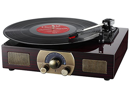 Vinyl Record Player, LuguLake Turntable with Stereo 3-Speed, Built-in BT Speakers, Record Player, FM Radio and RCA Output, Vintage Phonograph with Retro Wooden Finish