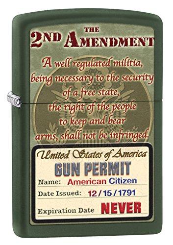 Rebel Flag Design - Zippo Lighter: Second Amendment Rights - Green Matte