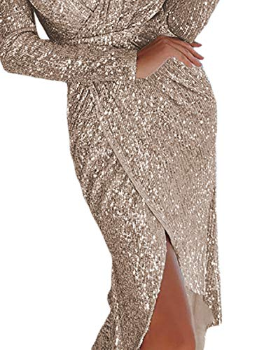 acc0c232 Elapsy Womens Sexy Luxurious Deep V Neck Sequins Wrapped Ruched Irregular  Bodycon Slip Party Nightclub Dress