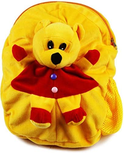 DZert Plush Soft Toy Pooh School Backpack for Kids (Yellow)