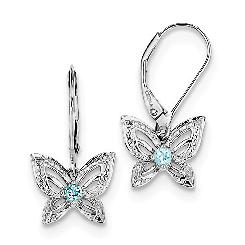 .925 Sterling Silver Genuine Diamond And Swiss Blue Topaz Butterfly Leverback Earrings (0.01 CTTW, I-J Color, I2 Clarity)
