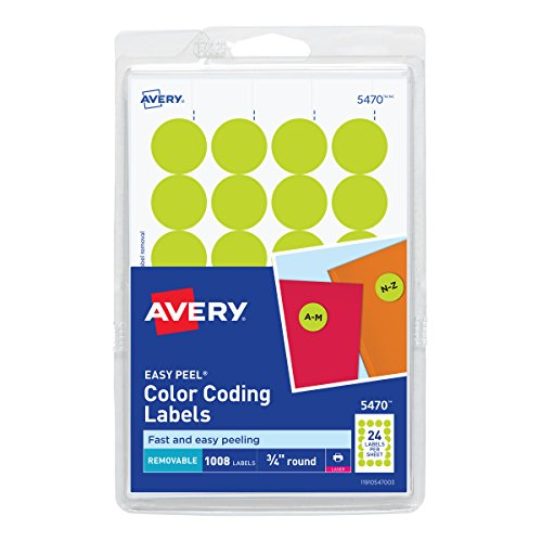 Avery Round Color-Coding Labels 3/4 in, Neon Yellow, 1008/Pack - (Yellow Dots)