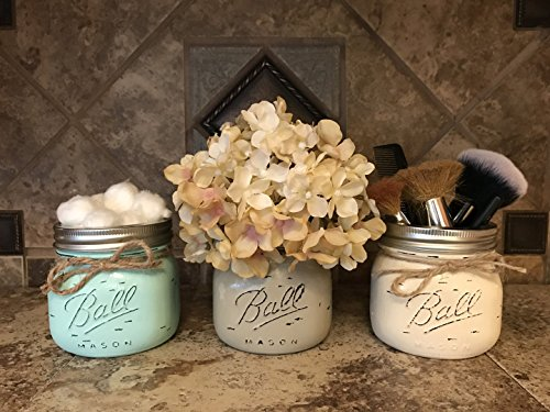 Mason Ball Canning Hand PAINTED SHORT PINT Wide-Mouth JAR ONLY ~ Q-Tip Holder, Cosmetic Beauty Brush Holder, Kitchen Bathroom Decor ~ Distressed ~Gray Seafoam Teal Blue Green Cream Brown Tan -  Wooden Hearts