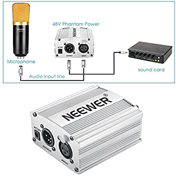 Neewer Phantom Power Kit Includes:1-channel 48v Phantom Power Supply With Adapter & Xlr Audio Cable For Any Condenser Microphone Music Recording Equipment (Silver) 4