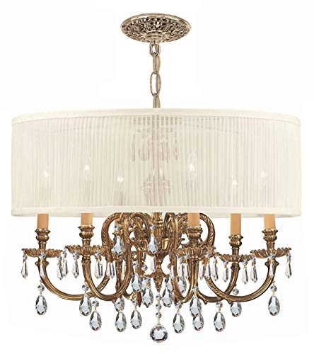 - Crystorama 2916-OB-SAW-CLS Brentwood 6LT Pendant, Olde Brass Finish and Swarovski Elements and Pleated Antique White Shade