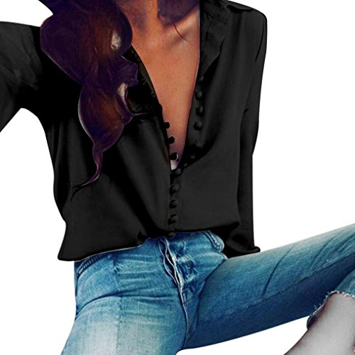 Women Love Tops,Pocciol Ladies Regular Blouse Solid Lapel Turn Down Collar Button Long Sleeves Shirt (Black, XL) (Sleeve Collar Buttons Lapel)