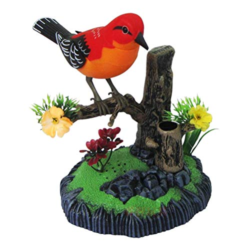 ULTNICE Motion Sensor Singing Chirping Bird Battery Operated Realistic Sounds and Movements with Pen Holder Desk Ornament (Bird Photo Holder)