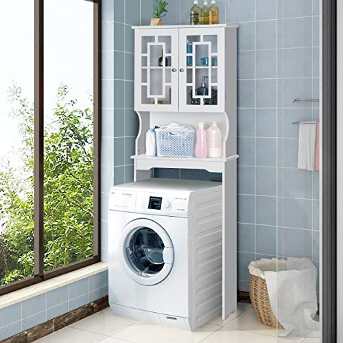 - Giantex Over-The-Toilet Bathroom Storage Space Saver W/Shelf and 2-Door Collect Cabinet (White)