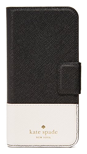 Kate Spade New York Leather Wrap Folio iPhone 7 Case, Black/Cement, iPhone 7