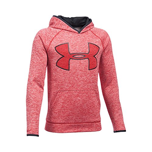 Under Armour Boys' Storm Armour Fleece Twist Highlight Hoodie, Red/Black, Youth - Armour Boys Sweatshirt Under