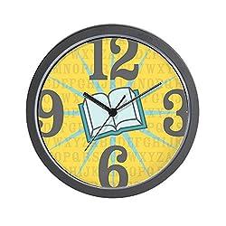 CafePress - Aqua Book Burst Wall Clock - Unique Decorative 10 Wall Clock