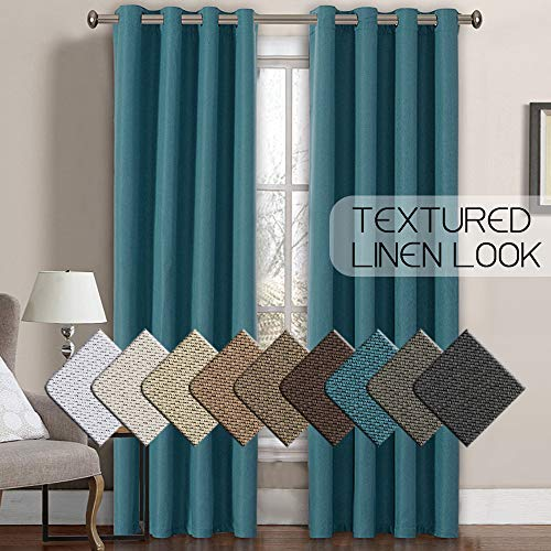 Primitive Burlap Linen Curtains for Bedroom 84 Room Darkening Thermal Insulated Living Room Curtains / Drapes, Antique Grommet Faux Linen Window Drapes, 52 by 84 Inch - Aegean Blue (1 Panel)