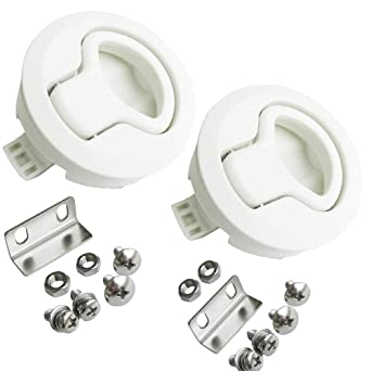 Perfect White Plastic Boat Deck Hatch 1//2/'/' Door 2/'/' Flush Pull Slam Latch