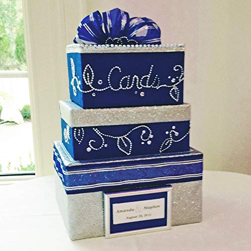 (Royal Blue Wedding Card Box, Bling, Handmade, Custom Beadwork )