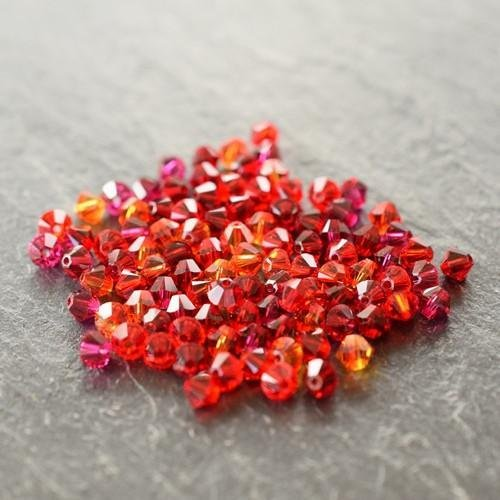 Swarovski Crystal Bicone Bead Mix Fire Red | 6mm | Pack of 100 | Small & Wholesale Packs