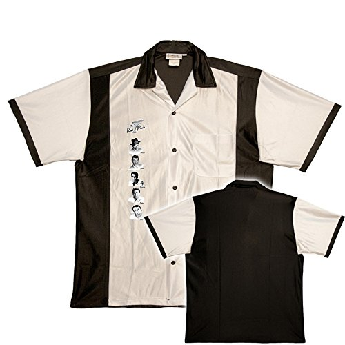 1940s Style Mens Shirts Rat Pack Bowling Shirt White & Black Retro Bowler  AT vintagedancer.com