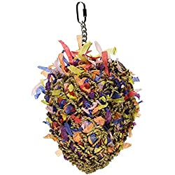 Sweet Feet and Beak Super Shredder Ball - Will Keep Your Bird Busy for Weeks - Creates Fun-Filled, No-Stress Time Foraging for Hidden Treasures – Non-Toxic - Easy to Install - for Large Sized Birds