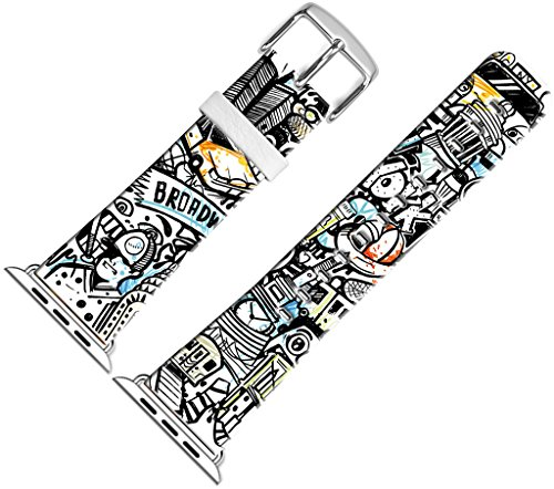 Band for Iwatch Bands 38mm,38mm Leather Strap Wrist Band Replacement W Silver Metal Clasp Compatible for Apple Watch 38mm Series 1 Series 2 Series 3 - Halloween Distinctive Cartoon Faces ()