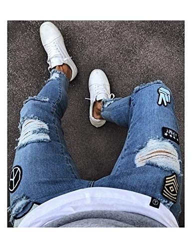 Pants Fashion Ripped Mezclilla Pantalones Fit Agujeros De Casual Vintage Slim Skinny Destroyed Hombres Jeans Mezclilla Pantalones para Grau De Holes Zwwqx6v