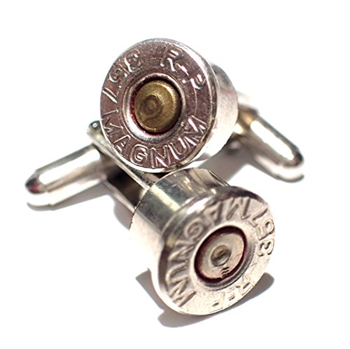 Bullet Shell Cufflinks 357 Magnum two tone Nickel Silver w Brass Center 357 mag cufflinks (Shell Tone Two)