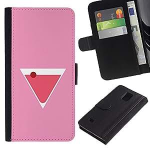 UPPERHAND Imagen de Estilo Cuero billetera Ranura Tarjeta Funda Cover Case Voltear TPU Carcasas Protectora Para Samsung Galaxy Note 4 SM-N910 - cóctel de martini copa de licor de color rosa