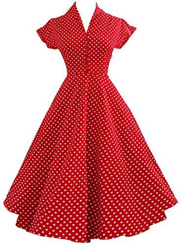 YOGLY Damen Kleider 50s Retro Vintage Rockabilly Kleid Hepburn Stil  Neckholder Partykleid Cocktailkleid Rot mOt4CWKBo 2625e5a58f