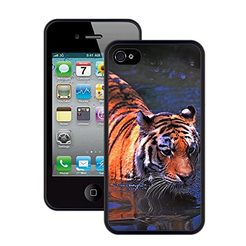 Tiger | Handgefertigt | iPhone 4 4s | Schwarze Hülle