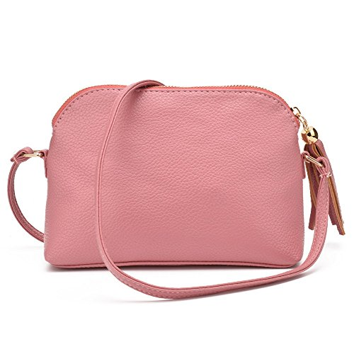 Jiaruo Women's Soft Leather Fashion Cross Body Shoulder Bag Mini Shell Bag (pink)