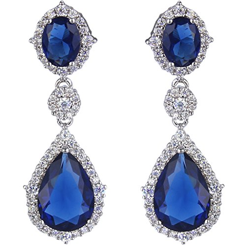 ever faith silver tone full cubic zirconia flower tear drop pierced dangle earrings blue sapphire color - Color Contacts Amazon