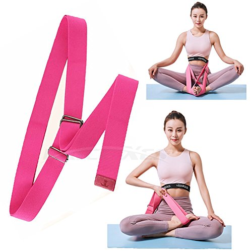 Price Xes Yoga Stretching Seat Strap w/Adjustable Metal Buckle, SUPER ELASTIC Physical Therapy Fitness Belt, Resistance Exercise Band Lengthen Cross Legged Meditation Leg Stretcher Workout Trainer by Price Xes (Image #1)