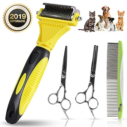 ZIONOR Pet Grooming Tools Contain Dog Grooming Scissors, Meatl Dog Combs, Undercoat Rake for Dogs Cats Pets, Comfortable…