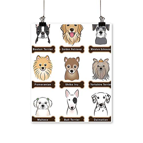 Canvas Painting Various Dogs Nameplate Bost dom tic Faithful Loyal Grey Cream White Home Decor on Canvas,12