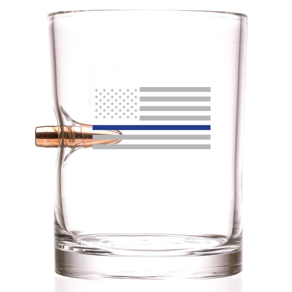 308 Authentic Solid Copper Projectile Whiskey Glass Engraved with Blue Line American Flag