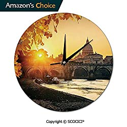 SCOCICI 10 Inch 3D Wall Clock - Silent Non Ticking Sweep Movement, Sunset at Tiber River St Peter Rome City Italy Round Shaped Decorative Clock or Office/Kitchen/Bedroom/Living Room