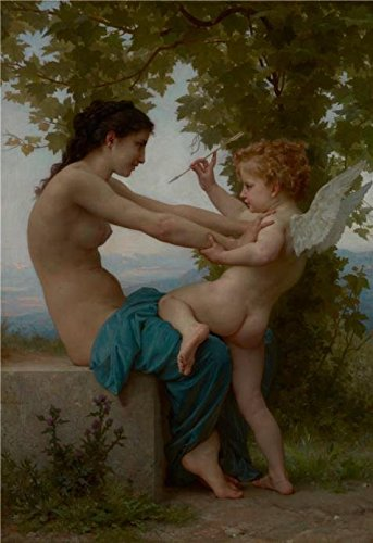 'A Young Girl Defending Herself Against Eros,1880 By William Adolphe Bouguereau' Oil Painting, 10x15 Inch / 25x37 Cm ,printed On Perfect Effect Canvas ,this Beautiful Art Decorative Prints On Canvas Is Perfectly Suitalbe For Bar Gallery Art And Home Decor And Gifts (Cheetah Fabric Drawer)