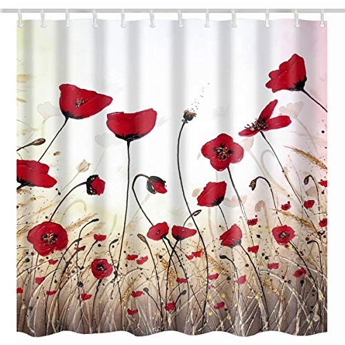 BROSHAN Floral Shower Curtain,Vintage Poppy Watercolor Red Flower Buds Vivid Petals Art Print Polyester Waterproof Fabric Bathroom Decor Set with Hooks,72x72 Inch (Curtain Shower And Brown Red)