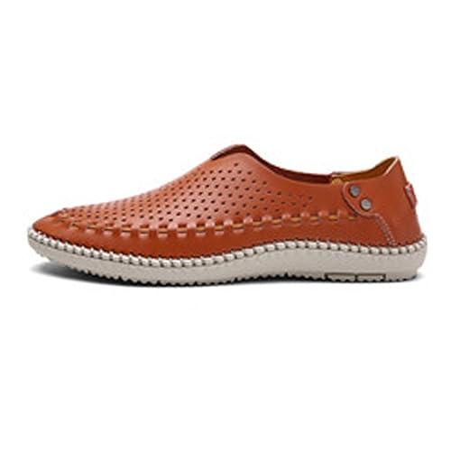Zapatos de Cuero Enuine para Hombre Mocasines con Cordones Clásicos Oxfords Forrados con Orificios Respirables para los Hombres: Amazon.es: Zapatos y ...