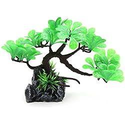 uxcell Green Plastic Tree Aquarium Fishbowl Aquascape Ornament Home Decor 4.7inch High