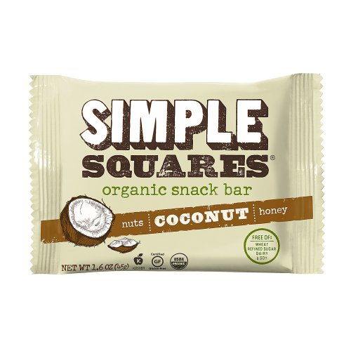 SIMPLE Squares Organic Whole Food Protein Bar, Coconut, 1.6 Ounce (Pack of 12)