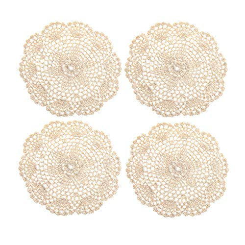EIYYA Handmade Cotton Crochet Doilies Lace Table Placemats Coasters, 8inch 4-Piece (Beige)